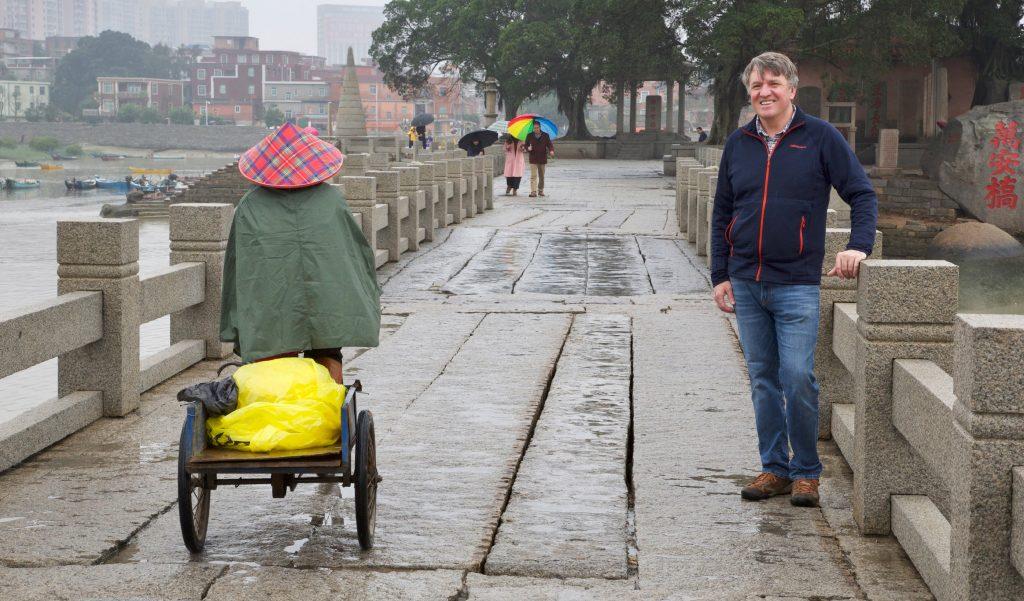 Gavin Johnston on bridge in China