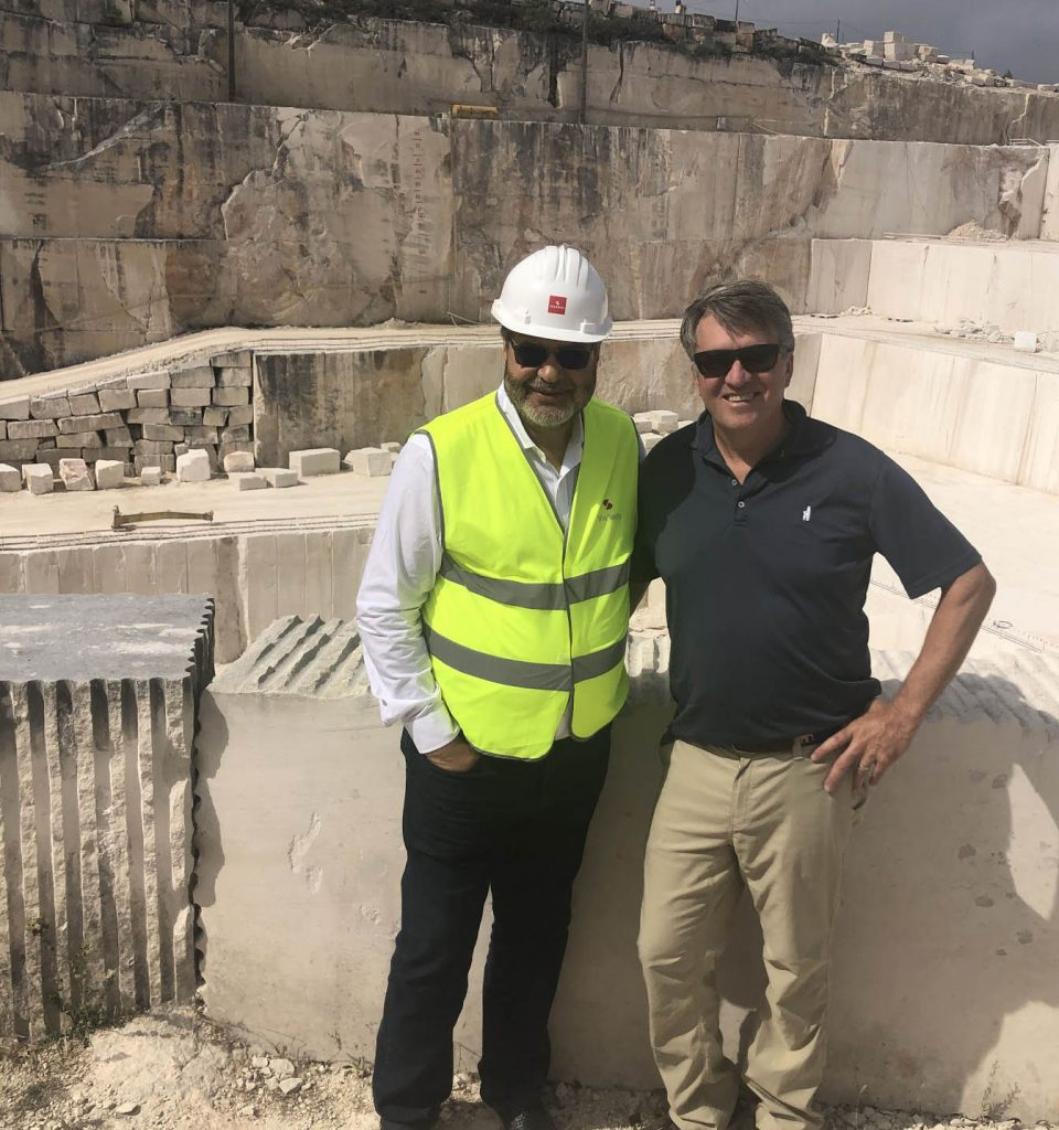 Gavin Johnston with colleague at Solancis quarry in Portugal