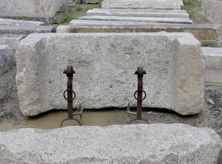 Granite drain invert used in firepit mockup