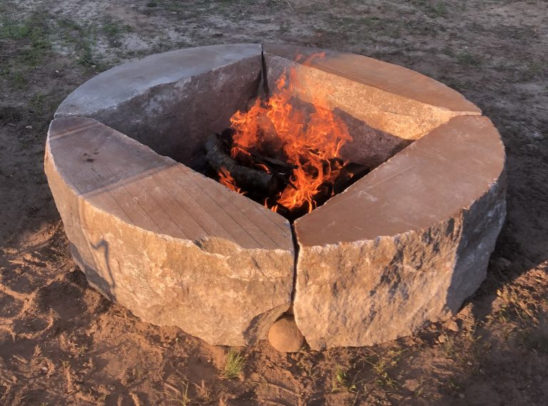 Reclaimed D radius firepit with fire - Stone Curators