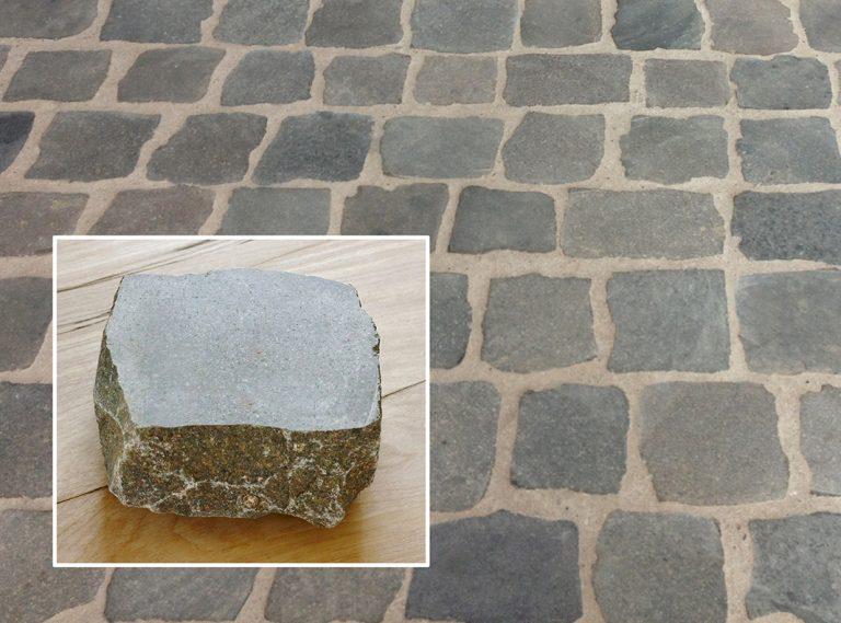 Reclaimed European porphyry sliced cobblestone with closeup inset - Stone Curators