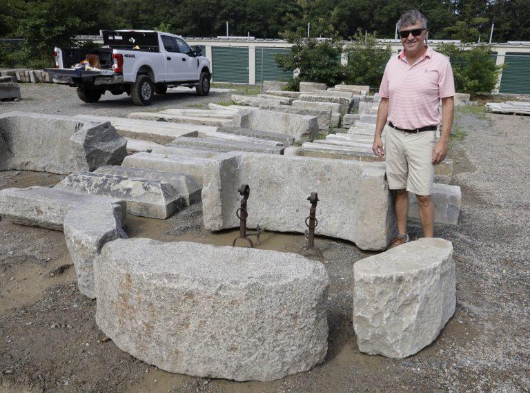 Reclaimed granite D radius curbstone - Stone Curators
