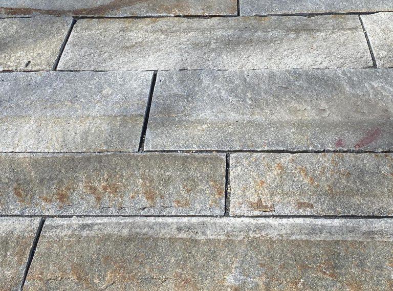 Reclaimed third generation plank paver closeup - Stone Curators