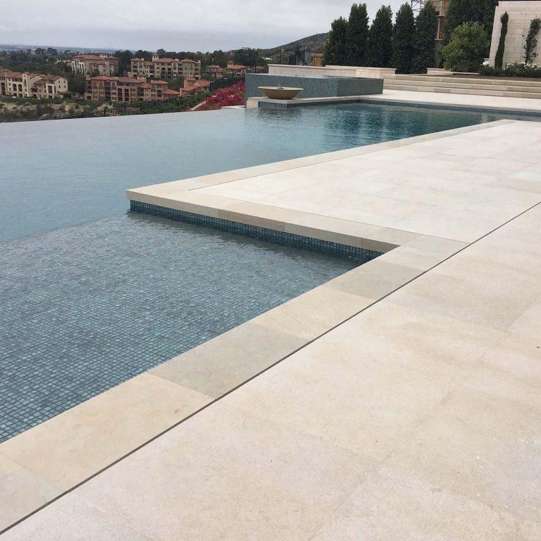 Mountain Hard Limestone Pietra flamed dimensional cut pavers pool deck