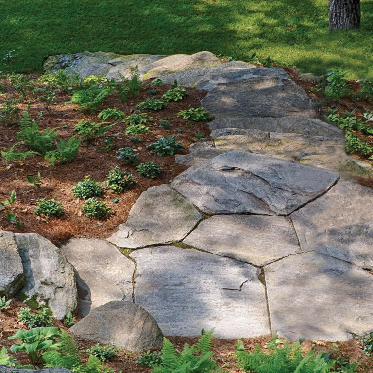 New England Fieldstone oversized flagstone patio and path square