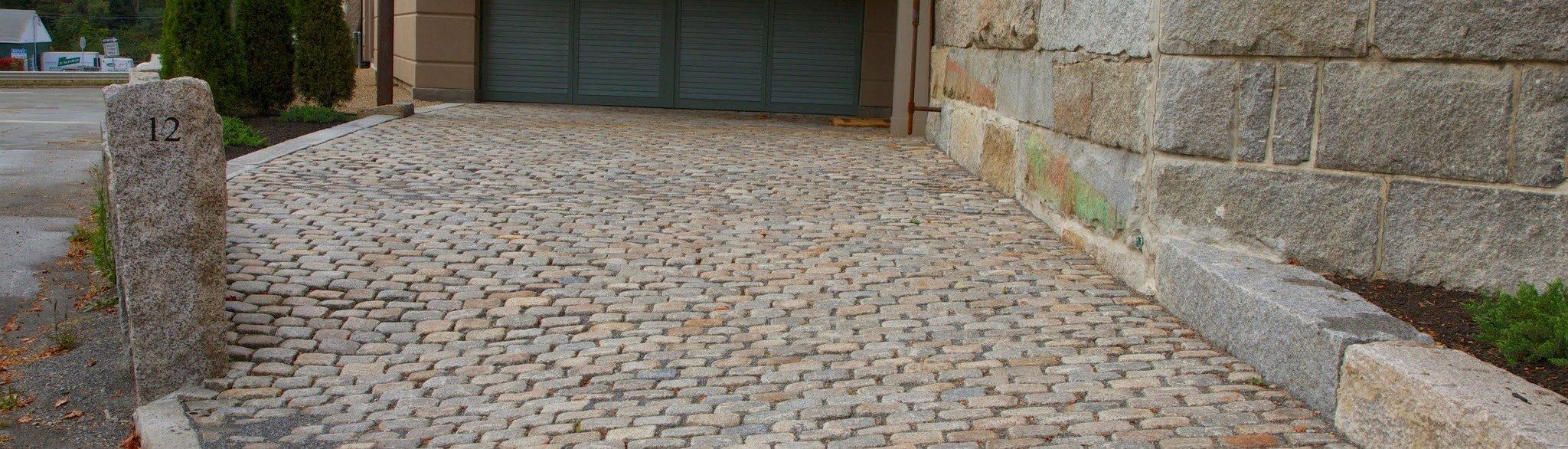 New England reclaimed cobblestone driveway