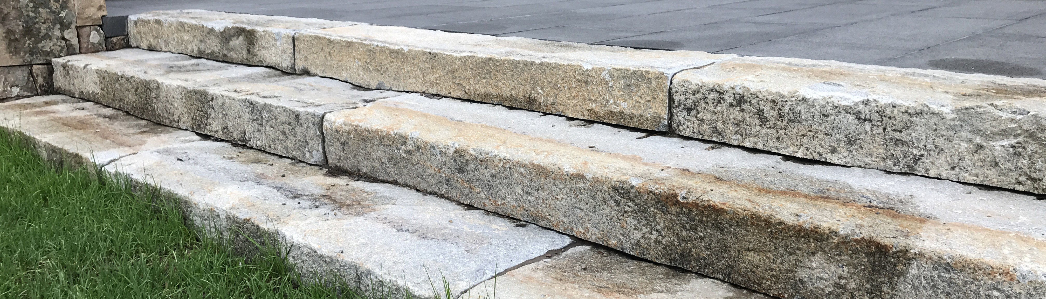 Reclaimed curbing used as steps