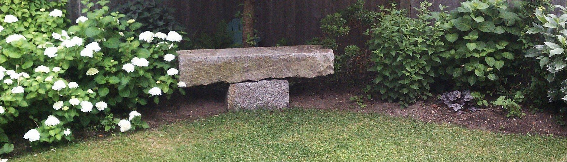 Reclaimed granite garden bench