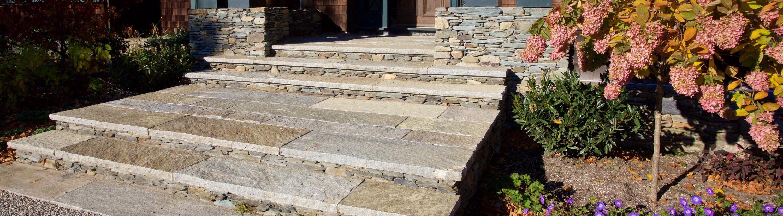 Reclaimed plank paver steps