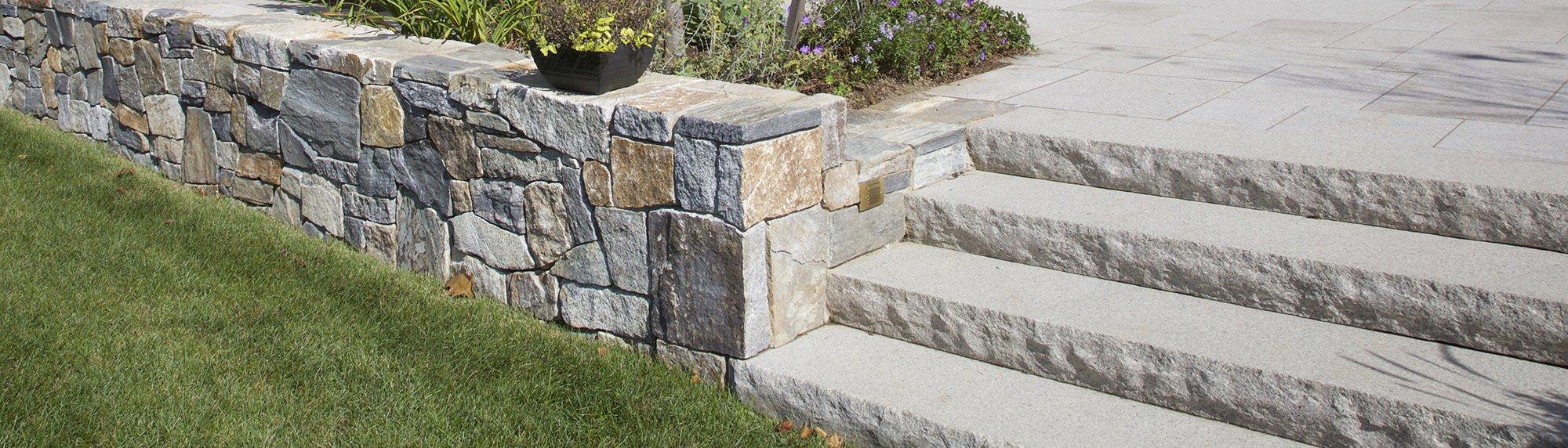 Rockport Mix granite stone retaining wall and Cape Neddick steps
