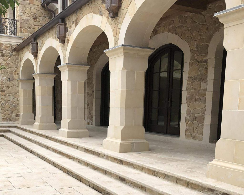 Northern New Jersey Estate with Mountain Hard Limestone custom fabricated archway and pavers 2