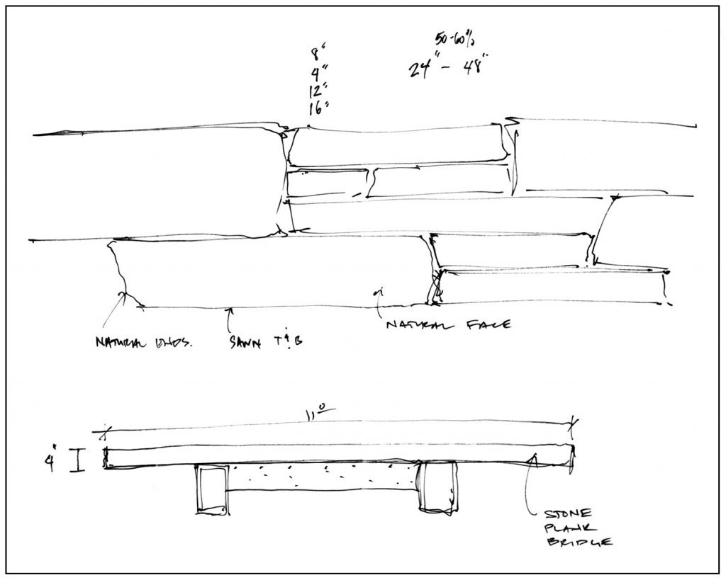 Hand drawing of stone bench