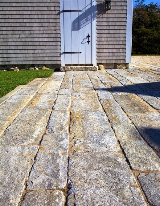 Reclaimed granite curbstone plank pavers, natural edge