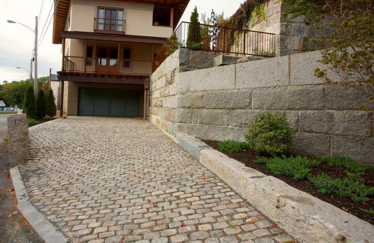 Reclaimed domestic cobblestones, top side up