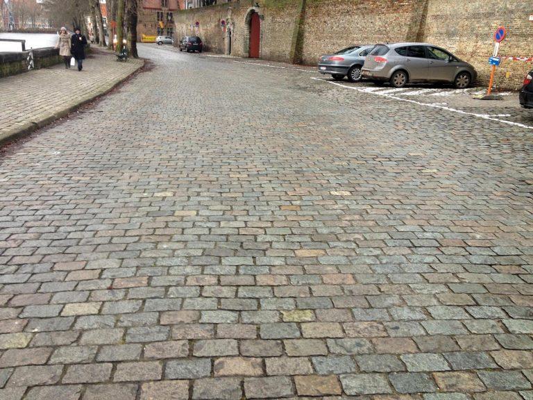 Reclaimed European porphyry cobblestones with antique surface