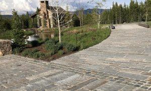 Reclaimed granite curbstone plank pavers, driveway