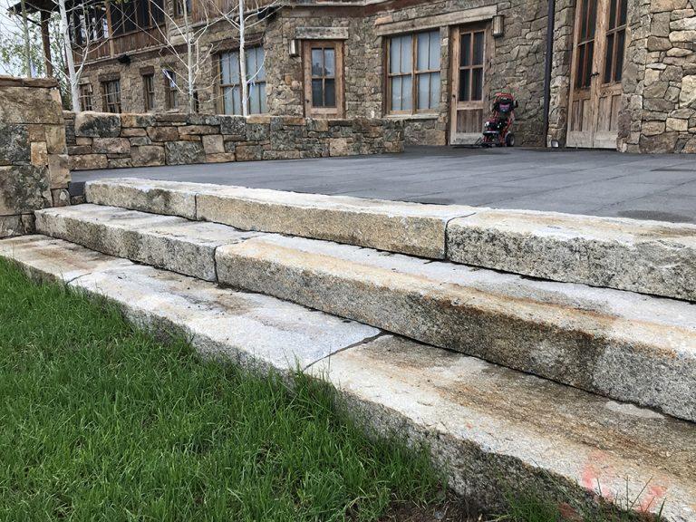 Reclaimed granite curbstone steps